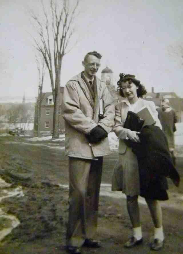 Donald Gammon & Elizabeth Brewster on UNB campus, circa 1946